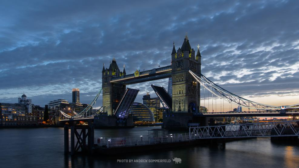 Tower Bridge, Open by Andrew Sommerfeld